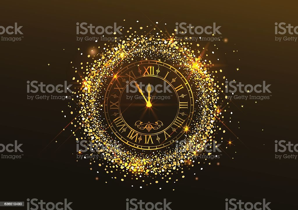 Midnight New Year. Clock with Roman numer vector art illustration
