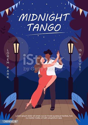 istock Midnight tango poster flat vector template 1265935287