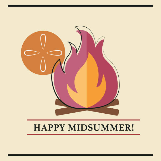 Midsummer Card vector art illustration