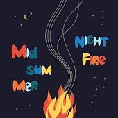Midsummer night fire festival poster
