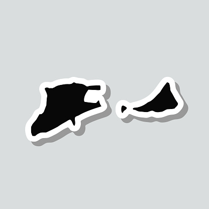 Midway Island map sticker on gray background