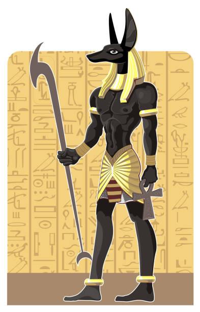 mächtige große dunkle anubis auf ägypten hintergrund - kultfilme stock-grafiken, -clipart, -cartoons und -symbole