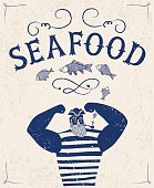 The mighty cartoon sailor with pipe on old grungy background. Poster for seafood