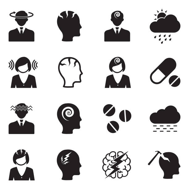 Migraine And Headache Icons. Black Flat Design. Vector Illustration. Stroke, Head, Migraine, Pain headache stock illustrations