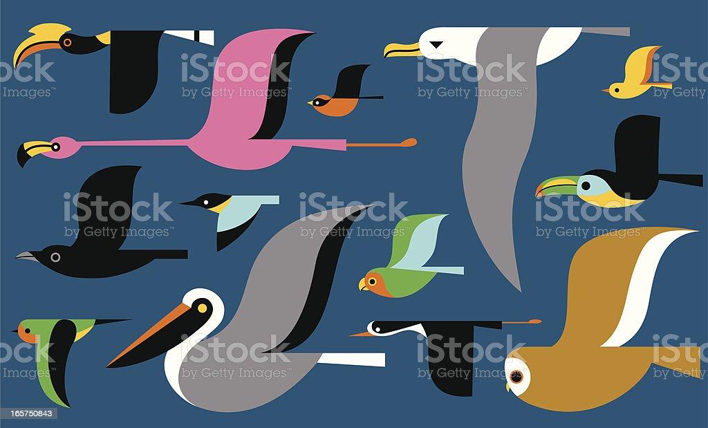 Migrating Birds vector art illustration