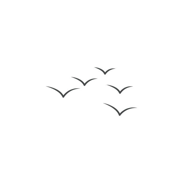 migration of geese colored hand drawn icon. element of autumn icon for mobile concept and web apps. hand drawn colored migration of geese can be used for web and mobile - birds stock illustrations