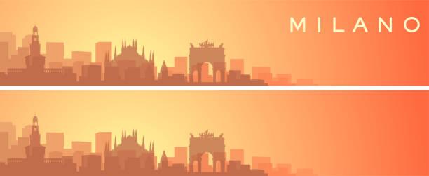 illustrazioni stock, clip art, cartoni animati e icone di tendenza di milan beautiful skyline scenery banner - milano