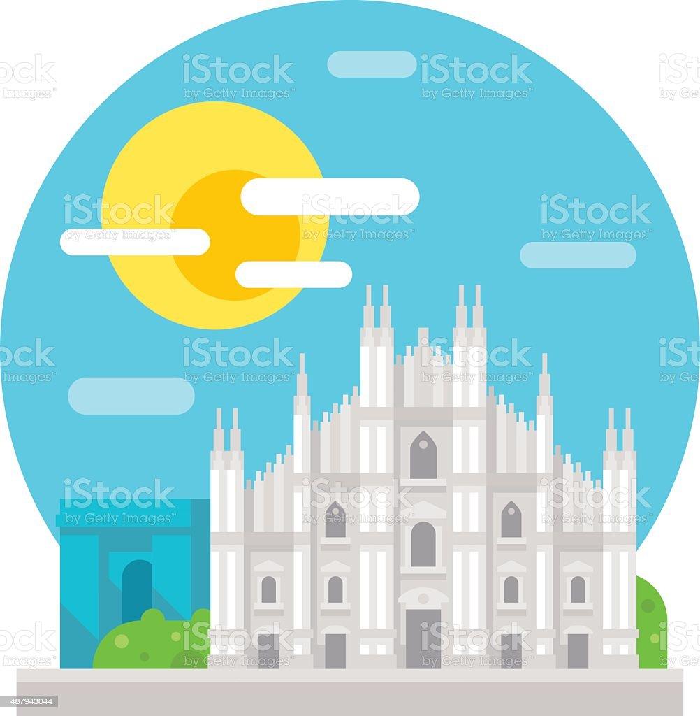 Milan cathedral flat design landmark
