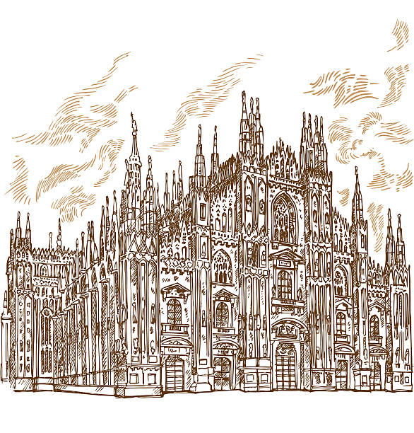 milan cathedral hand draw vector art illustration