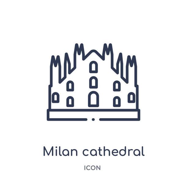 illustrazioni stock, clip art, cartoni animati e icone di tendenza di milan cathedral icon from monuments outline collection. thin line milan cathedral icon isolated on white background. - milan