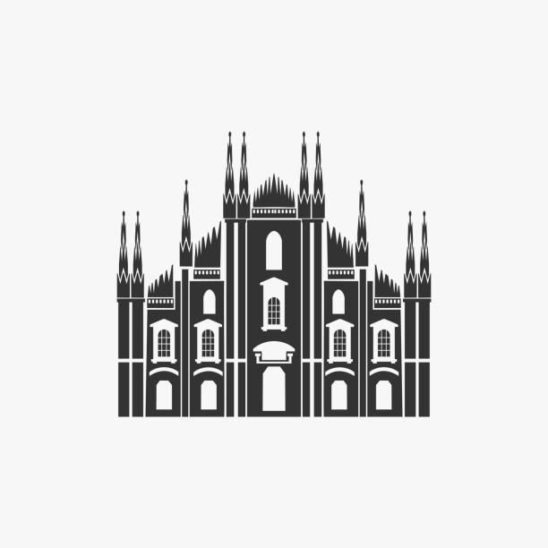 bildbanksillustrationer, clip art samt tecknat material och ikoner med milanos katedral vektorillustration - katedral