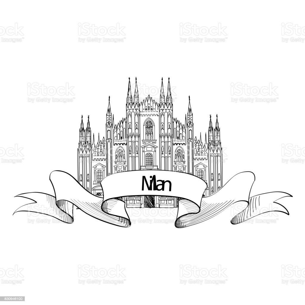 Milan city landmark. Travel Italy engraved sign.