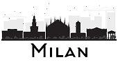 Milan City skyline black and white silhouette.