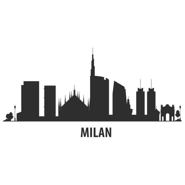 illustrazioni stock, clip art, cartoni animati e icone di tendenza di milan city skyline - cityscape silhouette with landmarks - milan