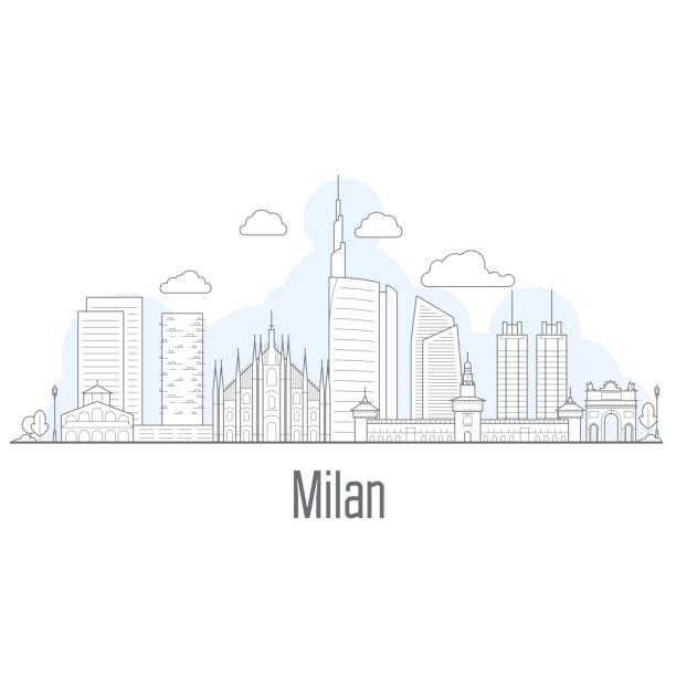 illustrazioni stock, clip art, cartoni animati e icone di tendenza di milan city skyline - cityscape with landmarks in liner style - milan