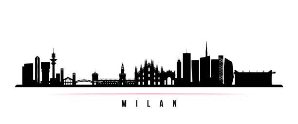 illustrazioni stock, clip art, cartoni animati e icone di tendenza di milan city skyline horizontal banner. black and white silhouette of milan city, italy. vector template for your design. - milan