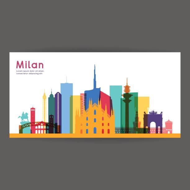 illustrazioni stock, clip art, cartoni animati e icone di tendenza di milan colorful architecture vector illustration - milan