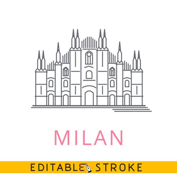 illustrazioni stock, clip art, cartoni animati e icone di tendenza di milan duomo italy. easy editable stroke line icon. - milan