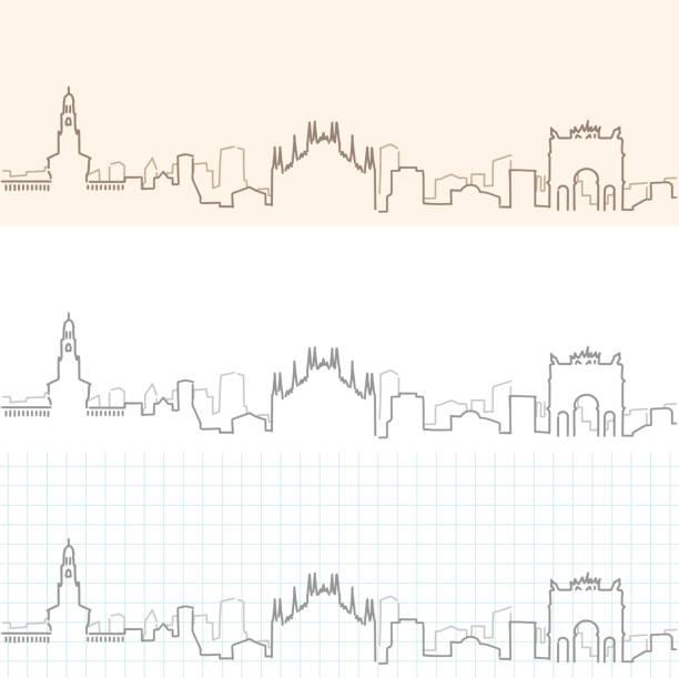 illustrazioni stock, clip art, cartoni animati e icone di tendenza di milan hand drawn skyline - milan