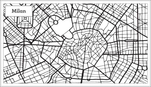 illustrazioni stock, clip art, cartoni animati e icone di tendenza di milan italy city map in black and white color. - milan