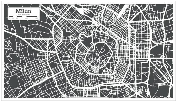 illustrazioni stock, clip art, cartoni animati e icone di tendenza di milan italy city map in retro style. outline map. - milan