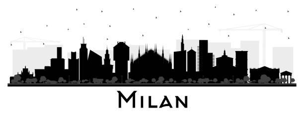 illustrazioni stock, clip art, cartoni animati e icone di tendenza di milan italy city skyline silhouette with color buildings isolated on white. - milano