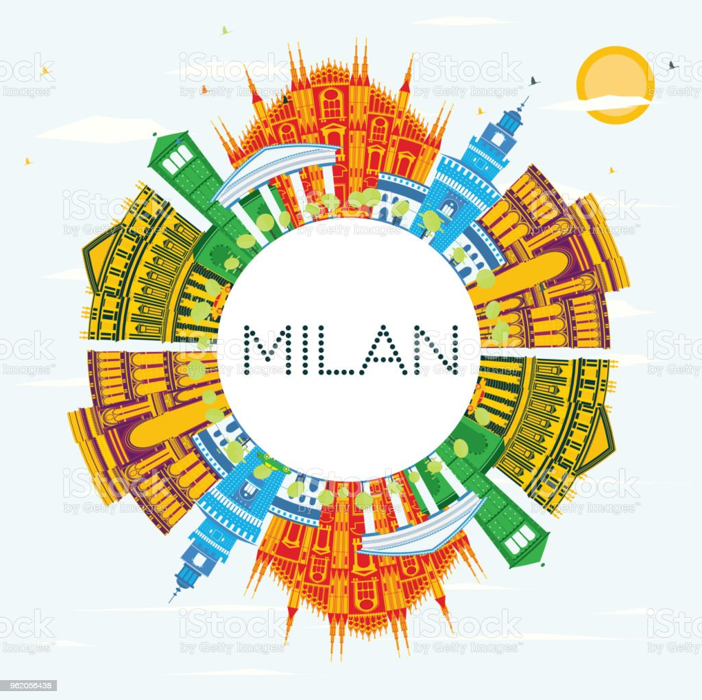 Milan Italy City Skyline with Color Buildings, Blue Sky and Copy Space.