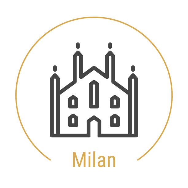 illustrazioni stock, clip art, cartoni animati e icone di tendenza di milan, italy vector line icon - milan