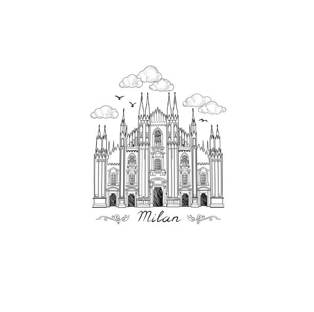 Milan landmark symbol. Travel Italy city icon. vector art illustration