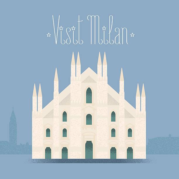 illustrazioni stock, clip art, cartoni animati e icone di tendenza di milan, milano cathedral vector illustration, design element, background - milano