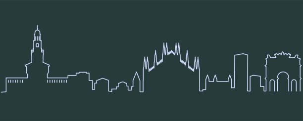 illustrazioni stock, clip art, cartoni animati e icone di tendenza di milan single line skyline - milan