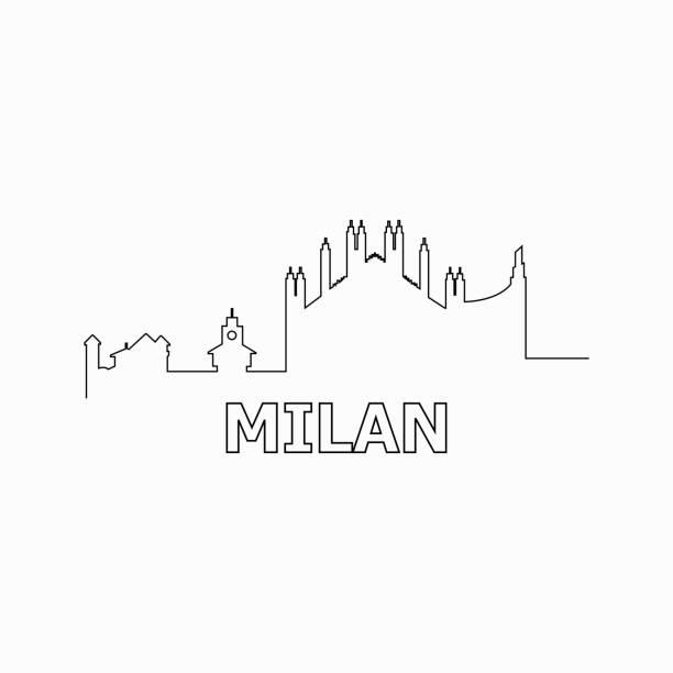 illustrazioni stock, clip art, cartoni animati e icone di tendenza di milan skyline and landmarks silhouette black vector icon. milan panorama. italy - milan
