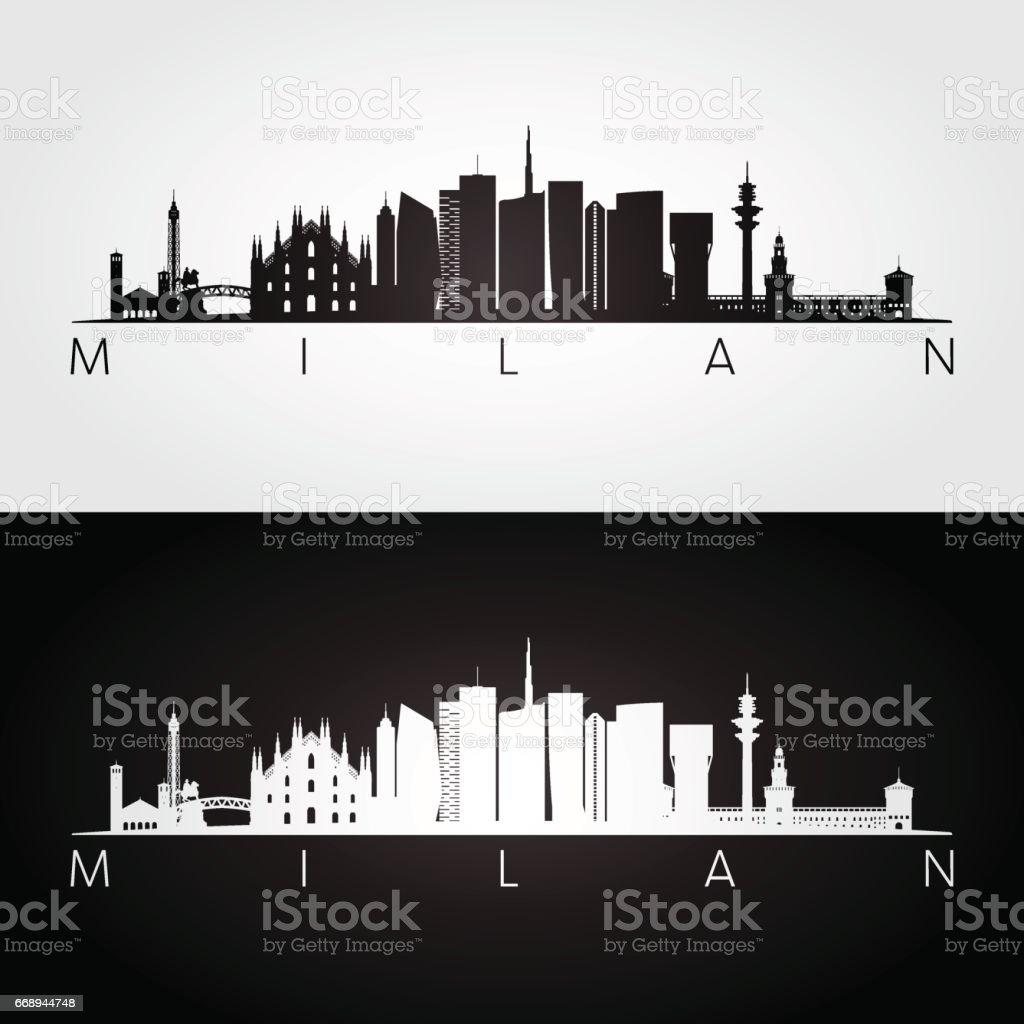 Milan skyline and landmarks silhouette.