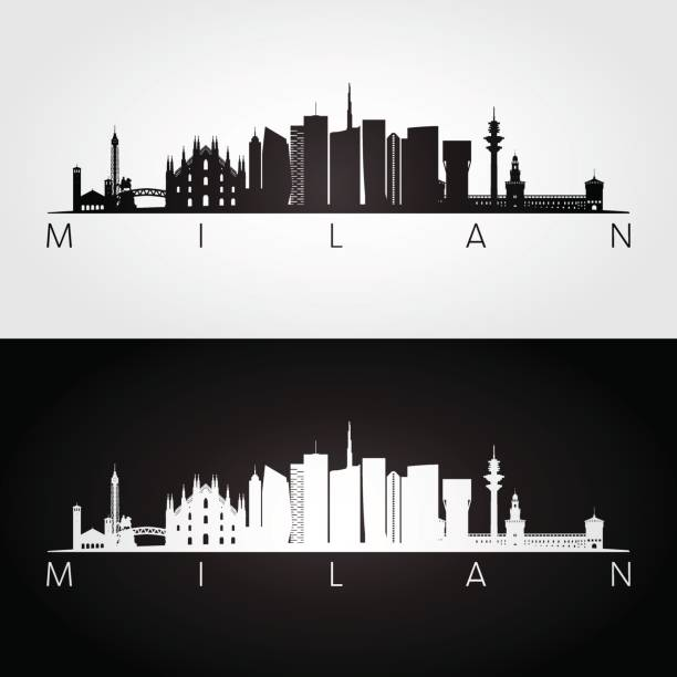 illustrazioni stock, clip art, cartoni animati e icone di tendenza di milan skyline and landmarks silhouette. - milan