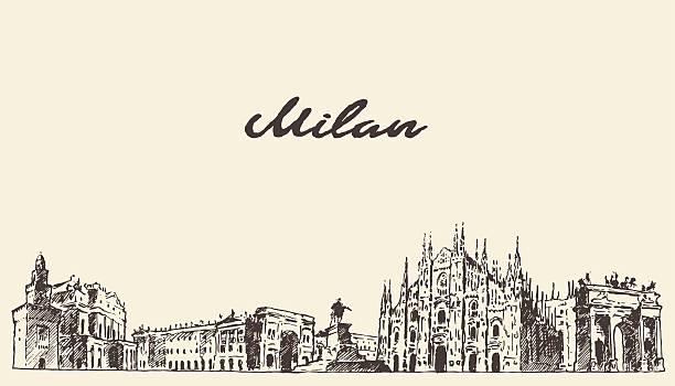 illustrazioni stock, clip art, cartoni animati e icone di tendenza di milano orizzonte italia vettoriale schizzo disegnato a mano libera - milan