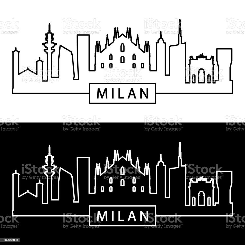 Milan skyline. Linear style. Editable vector file.