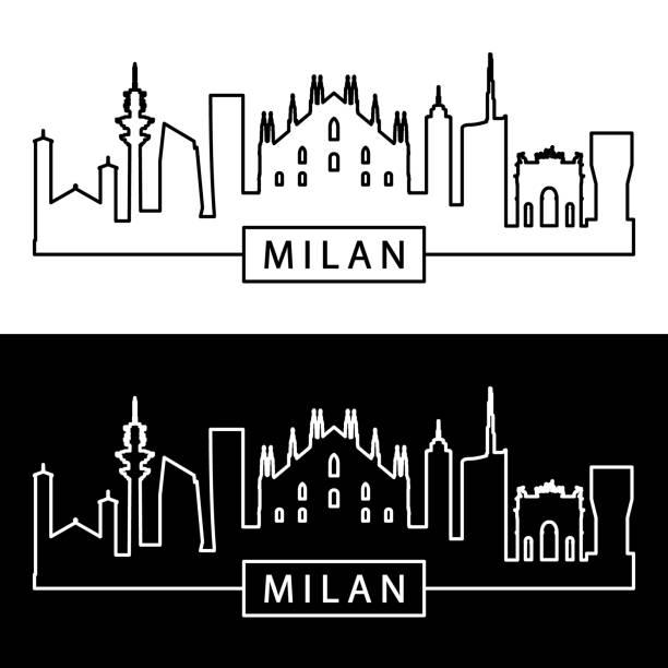 illustrazioni stock, clip art, cartoni animati e icone di tendenza di milan skyline. linear style. editable vector file. - milan