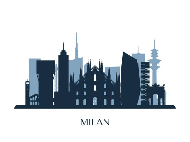 illustrazioni stock, clip art, cartoni animati e icone di tendenza di milan skyline, monochrome silhouette. vector illustration. - milan