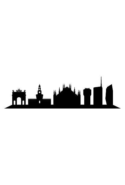illustrazioni stock, clip art, cartoni animati e icone di tendenza di skyline di milano su sfondo bianco - milan