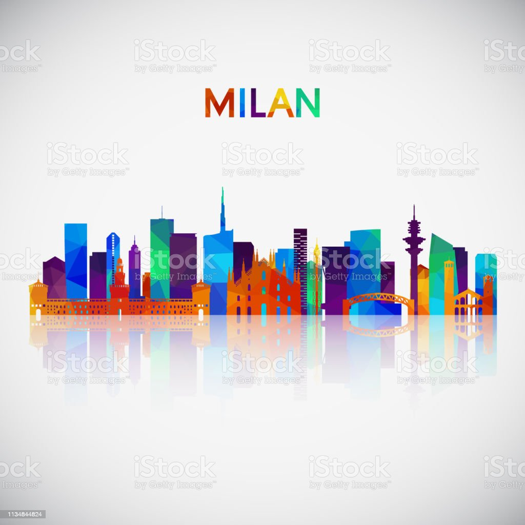 Milan skyline silhouette in colorful geometric style. Symbol for your...