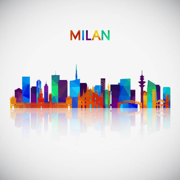 illustrazioni stock, clip art, cartoni animati e icone di tendenza di milan skyline silhouette in colorful geometric style. symbol for your design. vector illustration. - milan