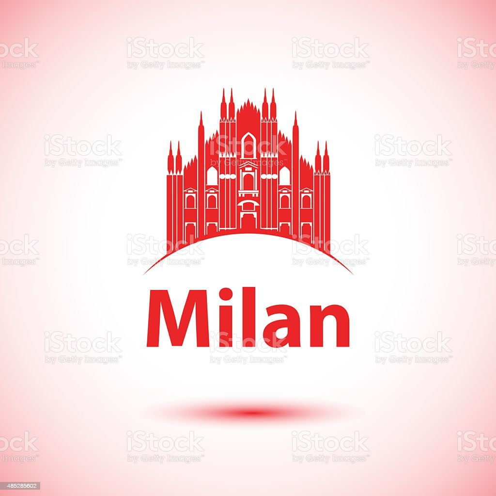Milan Skyline vector art illustration