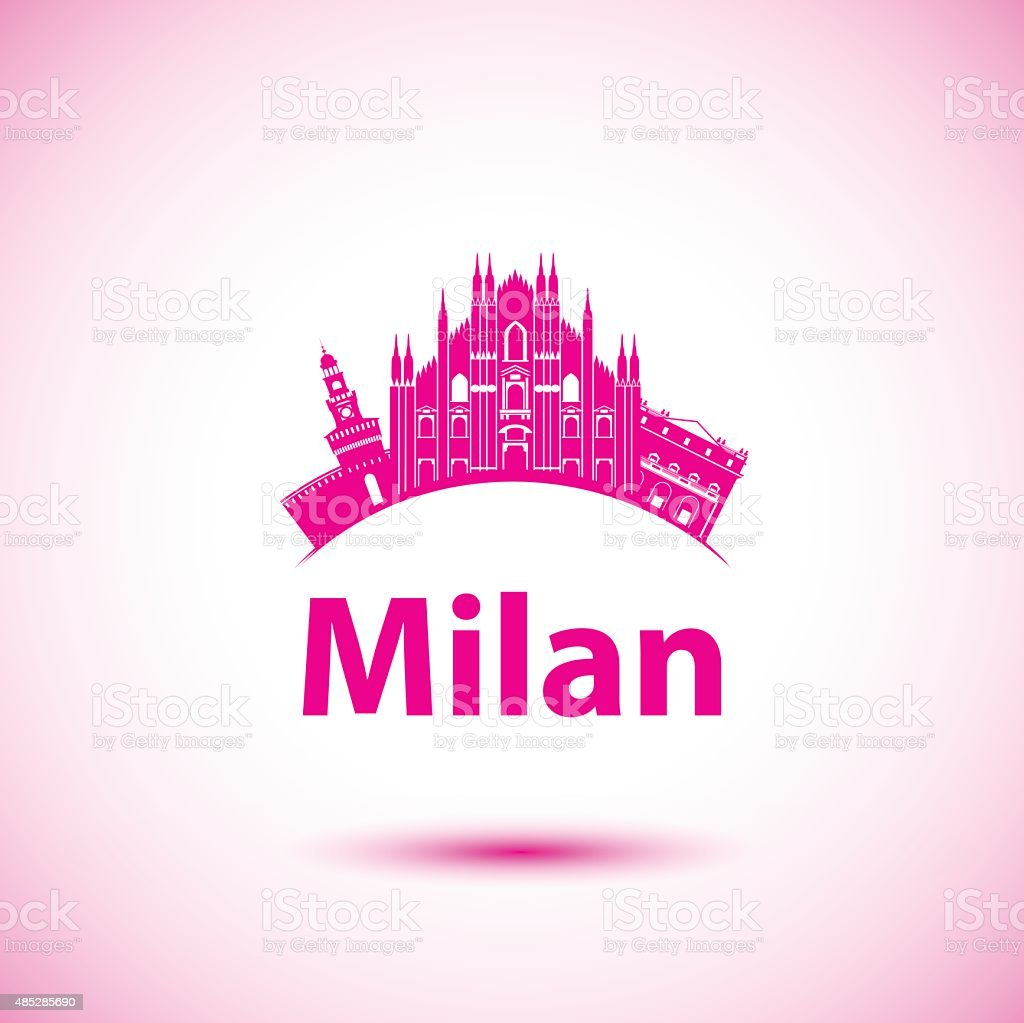 Milan Italy city skyline silhouette. Vector illustration