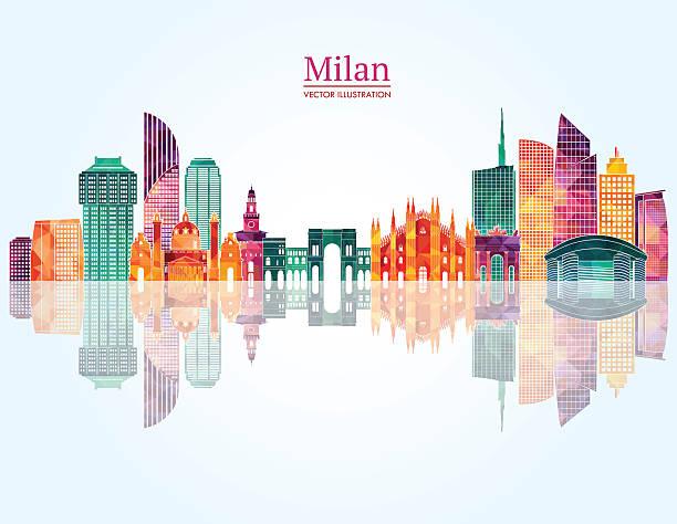 illustrazioni stock, clip art, cartoni animati e icone di tendenza di skyline di milano. illustrazione vettoriale - milan