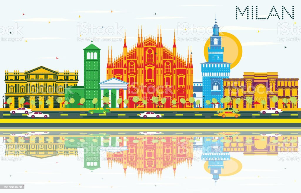 Milan Skyline with Gray Landmarks, Blue Sky and Reflections. Vector...