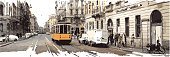 Vector illustration of street of Milano with yellow tram