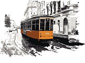Vector illustration of street of Milano with yellow tram.