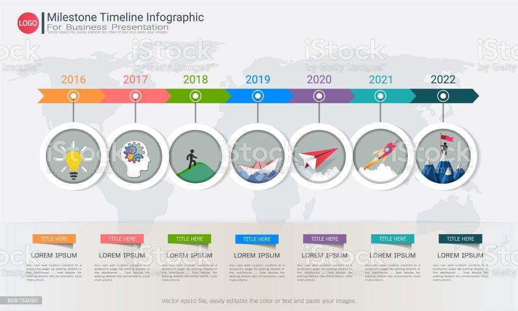 milestone timeline infographic design for business presentation road map or strategic plan to define company