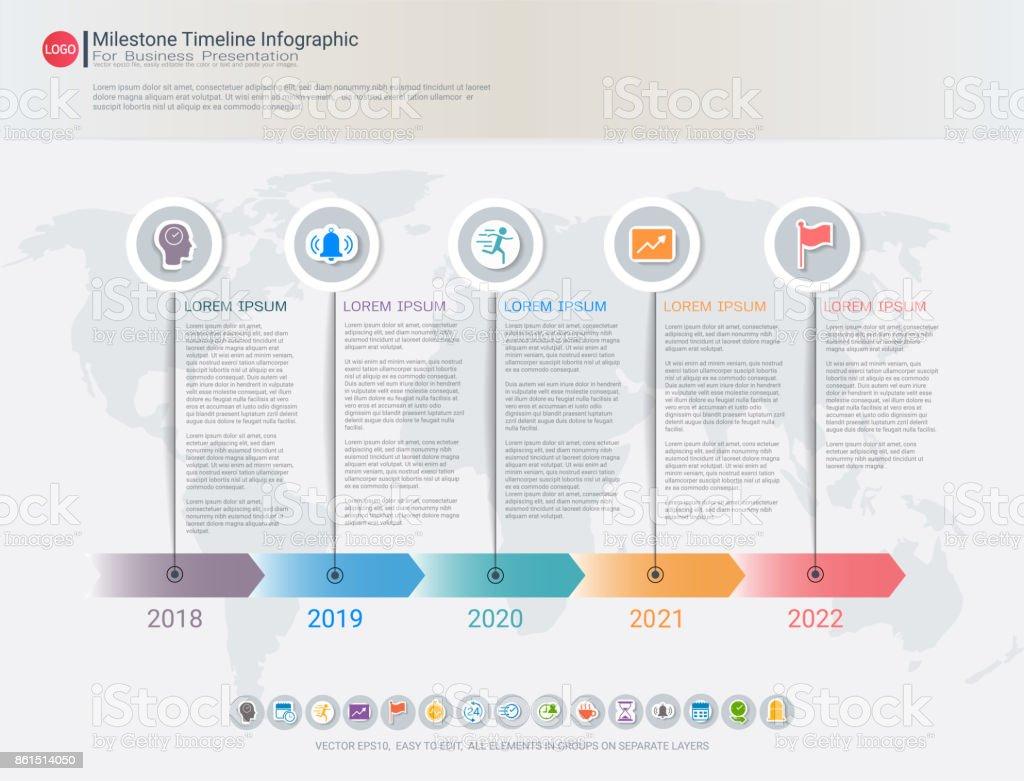 milestone timeline infographic design for business presentation road