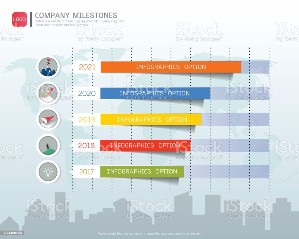milestone timeline infographic design road map or strategic plan to define company values can